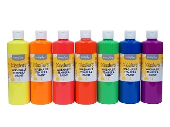 Little Masters Washable Fluorescent Tempera Paint - Choice of 7 colors, 16 oz