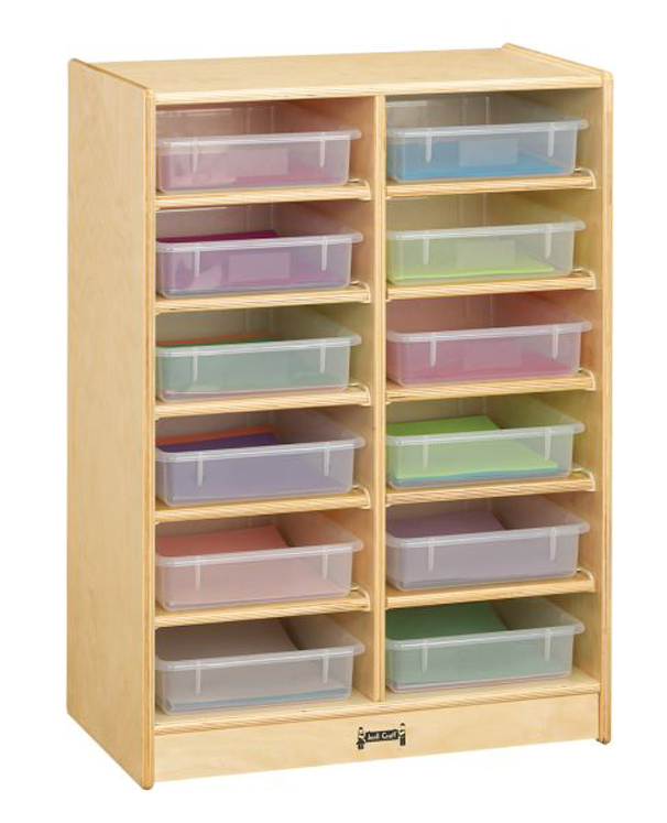 12 Paper-Tray Cubbie with Clear Paper-Trays
