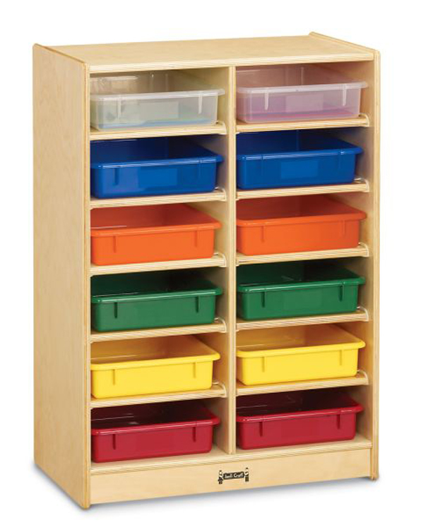 12 Paper-Tray Cubbie with Colored Paper-Trays