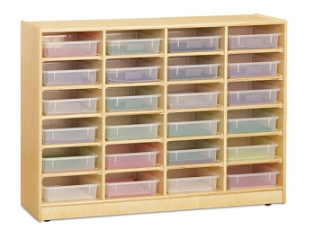24 Paper-Tray Cubbie with Clear Paper-Trays