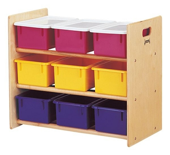 Tote Storage Rack - 9 Tray - with Colored Trays