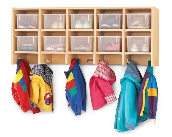 Coat Locker Large Wall Mount with Clear Trays