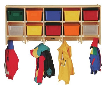 Coat Locker - Large Wall Mount with Colored Trays