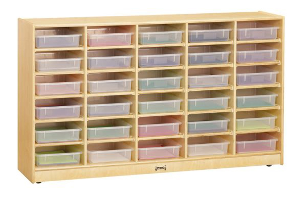 30 Paper-Tray Cubbie with Clear Paper-Trays