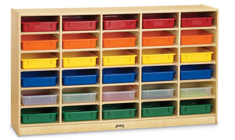 30 Paper-Tray Cubbie with Colored Paper-Trays