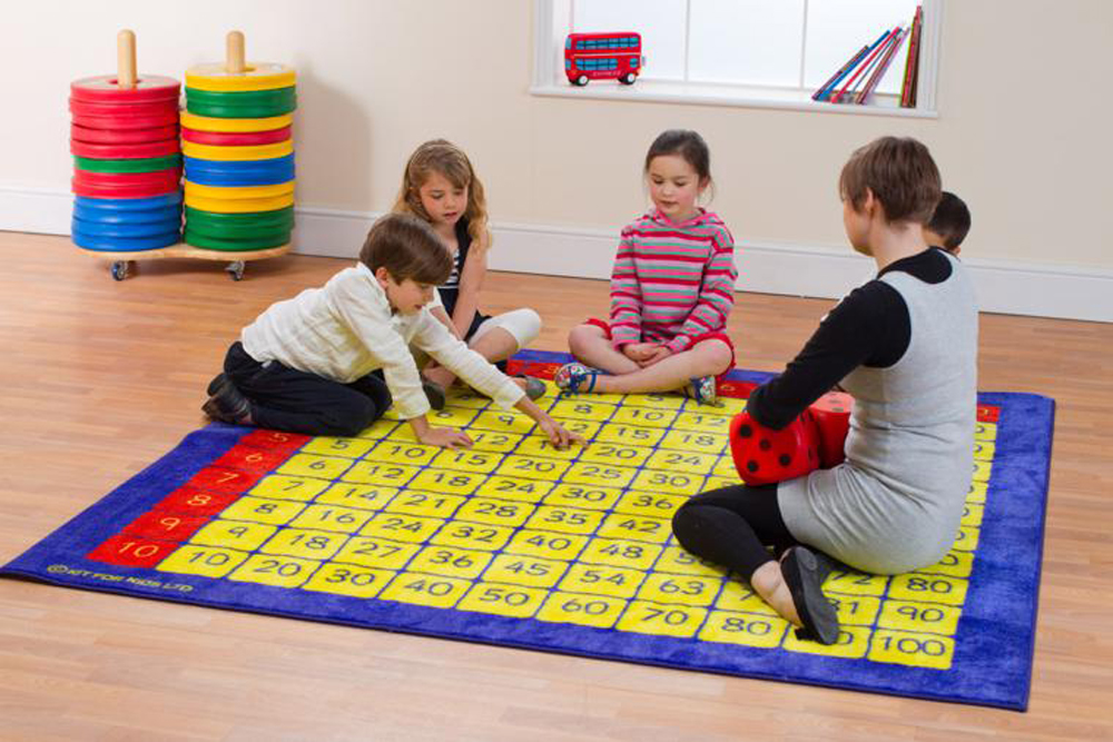 100 Square Multiplication Grid Carpet Heavy Duty Tuf-Pile