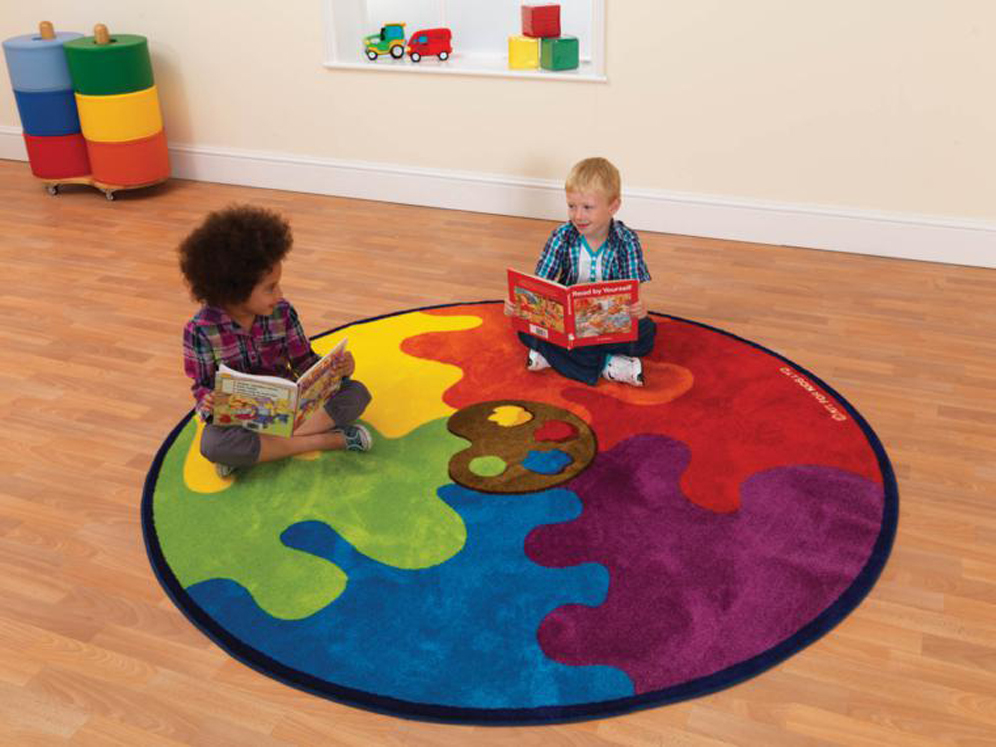 Decorative Color Palette Circular Carpet Heavy Duty Tuf-Pile