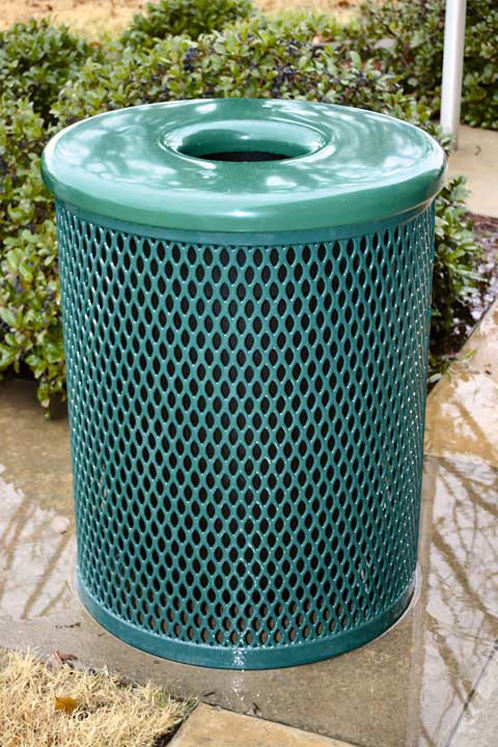 Trash Receptacle with Flat Top Lid