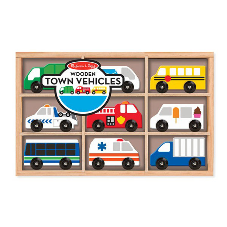 Wooden Town Vehicles - Set of 9