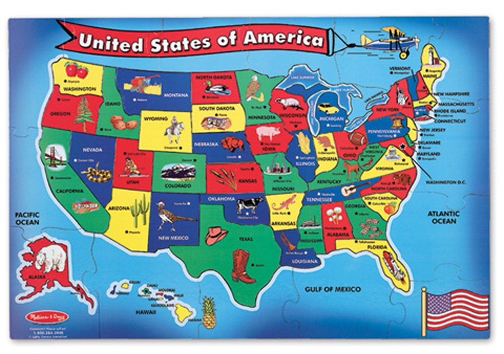 U.S.A. Map - Floor Puzzle - 51 Pieces