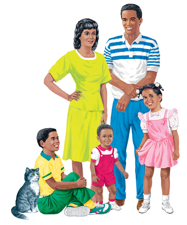 African-American Family Flannelboard Set - Pre-Cut