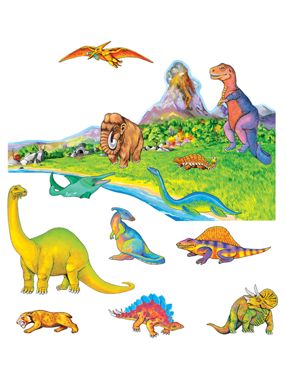 Dinosaurs with Volcanic Scene