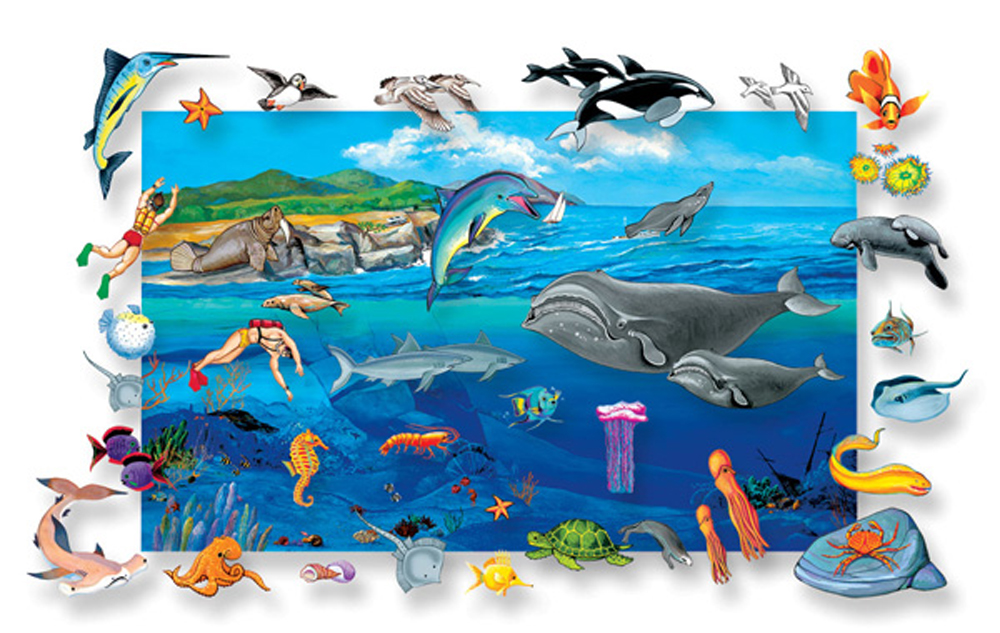 Sea Life Flannelboard Set with Background - Cardboard Backed