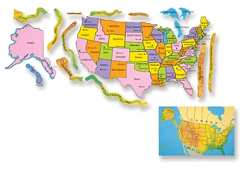 US Map Felt Board Kit, Uncut