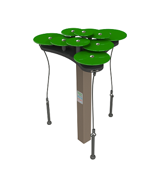 Lilypad Cymbals Green - 10 note bells, Green anodized aluminum discs, 3 mallets