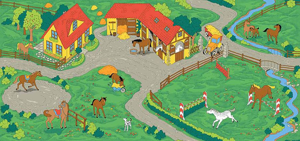 Horse Stable Play Carpet, 36''w x 79''l