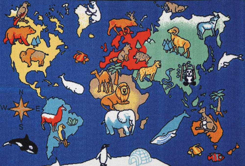 World Animals Play Carpet, 36''w x 52''l