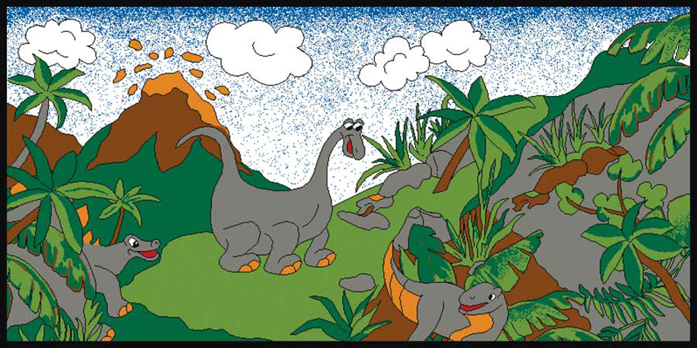 Dinosaurs Play Carpet, 36''w x 79''l