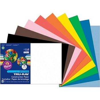 Sunworks Construction Paper, 12 x 18 - Choice of 12 Colors - 50 Count