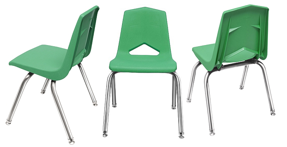 10'' V Back Chrome Leg Stack Chair - Set of 6