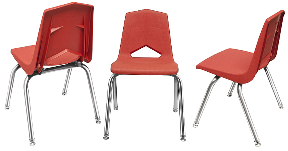 12'' V Back Chrome Leg Stack Chair - Set of 6
