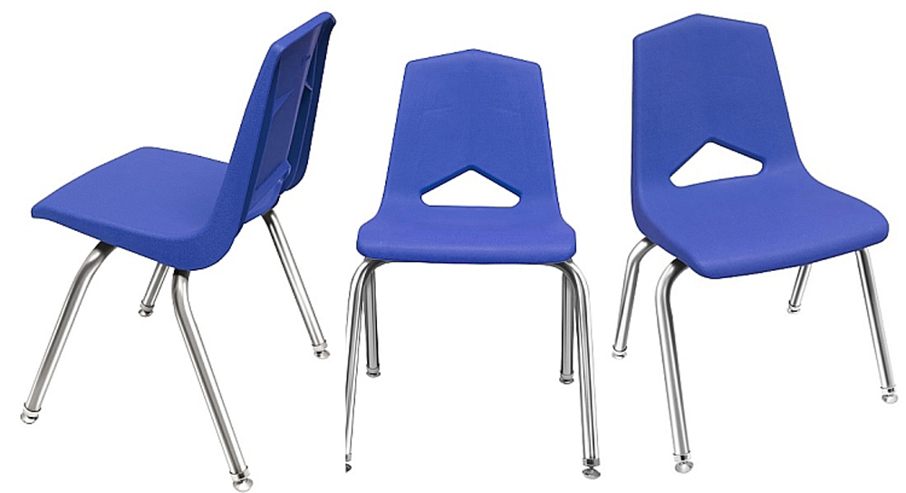 14'' V Back Chrome Leg Stack Chair - Set of 6