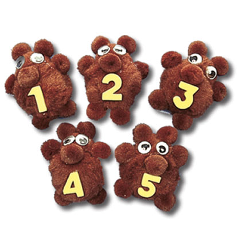 5-Character Monkey Mitt Set, Number Bears