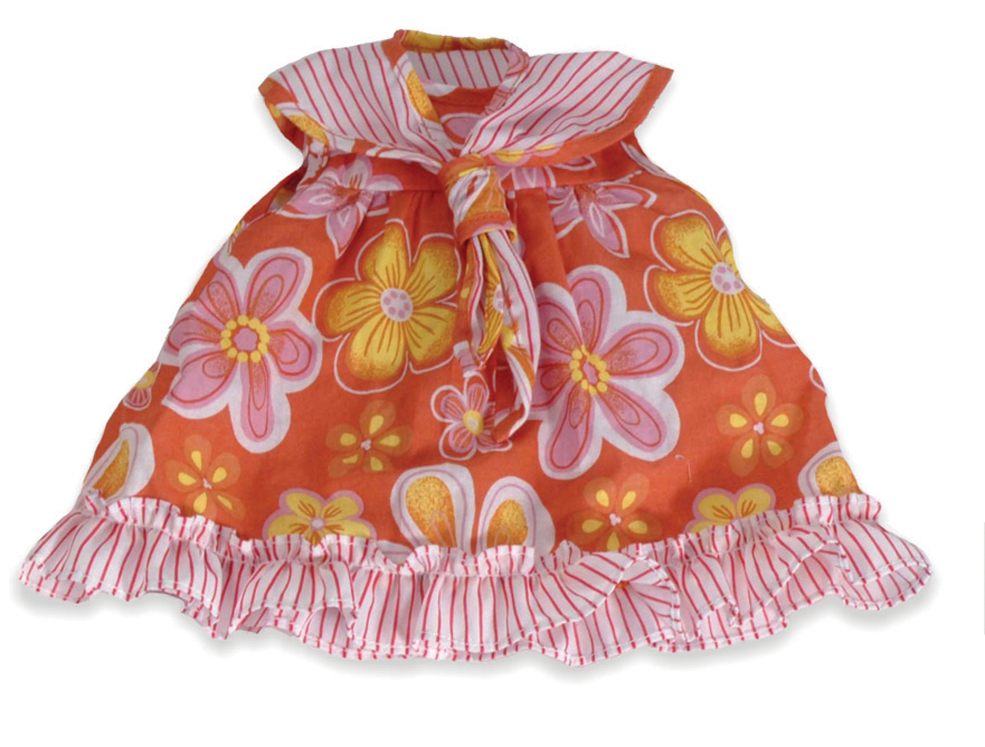 Baby Doll Clothes, Orange Floral Dress
