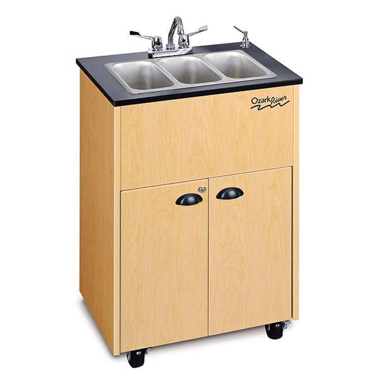 Premier Adult Size Hot Water Portable Sink (Triple Stainless Basin)