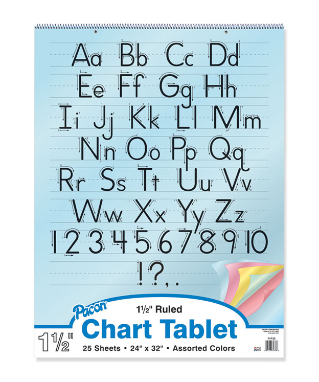 Colored Paper Chart Tablets, Ruled, 1-1/2