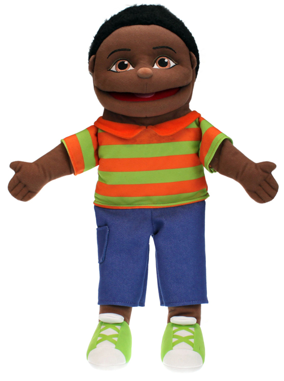 Small Dark Skin Boy Puppet, 16''