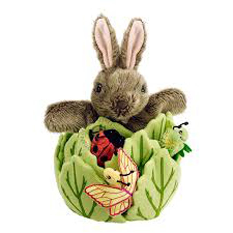 Rabbit in a Lettuce With 3 Mini Beasts - Hide-Away Puppet