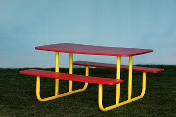 Picnic Table with Benches (Red/Yellow)