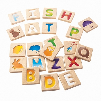 Alphabet A-Z 2-Sided Tiles With Capital Letters and Pictures of Objects that Correspond - 26 Pieces