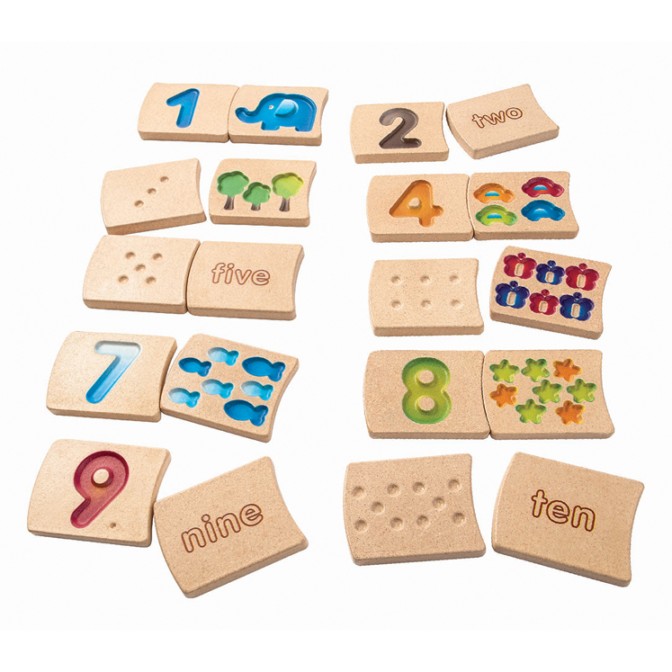 20-Piece Wooden Two-Sided Tile Set With Numbers 1-10
