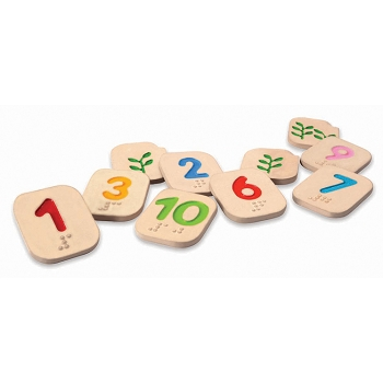 Braille Numbers (1-10) 2-Sided, Includes 12-10 & Corresponding Braille Cells - 10 Pieces