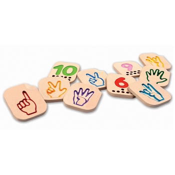 Hand Sign Number (1-10) 10-Piece Impressed Numbers and Counting Dots