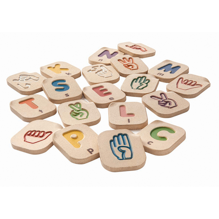 Hand Sign Alphabet A-Z Upper Case/Lower Case Letters with Corresponding Sign Language Pictures - 26 Piece