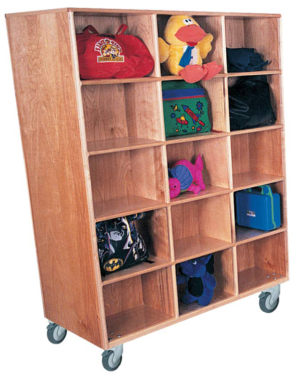 Mainstream Double Faced Jumbo Cubbies for 30 with Locking Casters, 48''w x 26''d x 64''h (Deluxe Shown)
