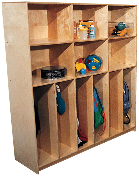 School Age Divided Lockers with Cubbies for 10 (6 Shown)