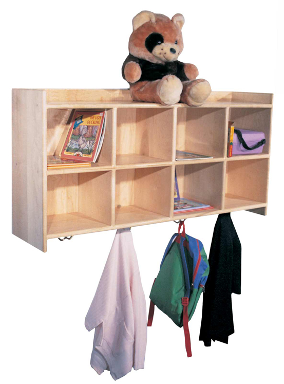 Mainstream Wall Hanging Cubbies for 10, 48''w x 12''d x 20''h (Deluxe for 8 Shown)