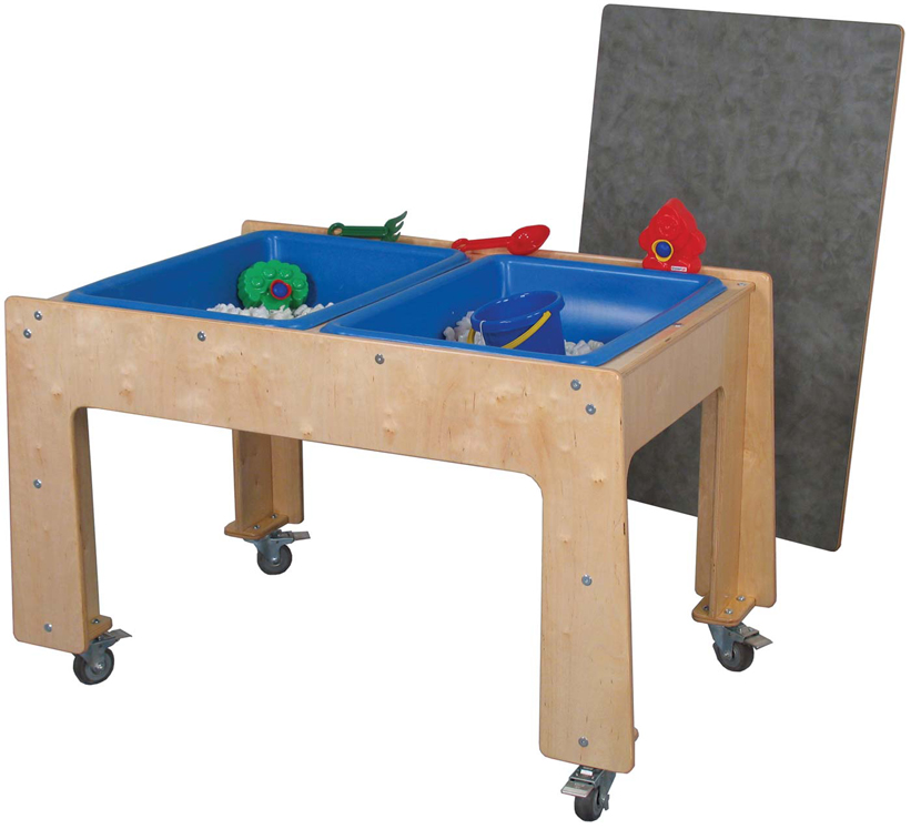 Mainstream Double Sensory Table with Locking Casters - Toddler, Preschool or School Age, 48''w x 28''d x 18''h-30