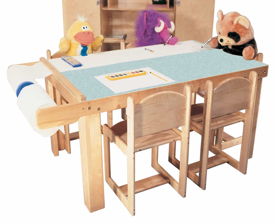 Mainstream Preschool Art Table Available in 5 or 7 Seats with Paper Dispenser and Laminate top (Deluxe Shown; Chairs Not Included)