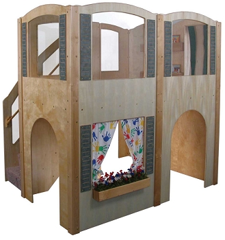 Mainstream Explorer 35 Preschool Wave Loft with Beige Carpeting and Steps on Left, 78''w x 98''d x 94''h, 52''h Deck