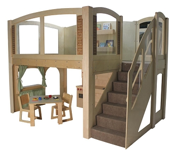 Mainstream Explorer 25 School Age Wave Loft, Natural Colors, Steps on Right or Left, 128''w x 78''d x 105''h Overall, 60''h Platform