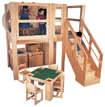 Mainstream Explorer 5 School Age Loft, 96''w x 48''d x 60''h Platform (Loft Only - Furniture Not Included; Preschool Version Shown)