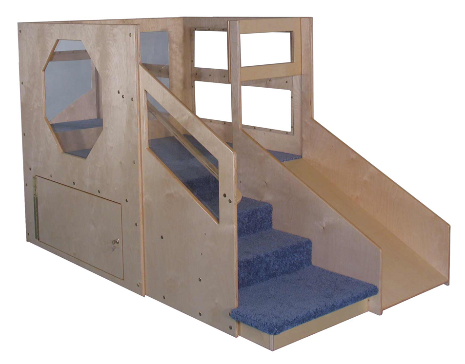 Mainstream Adventurer 2 Infant Toddler Loft A with Locking Storage, Beige Carpet (Blue Shown)
