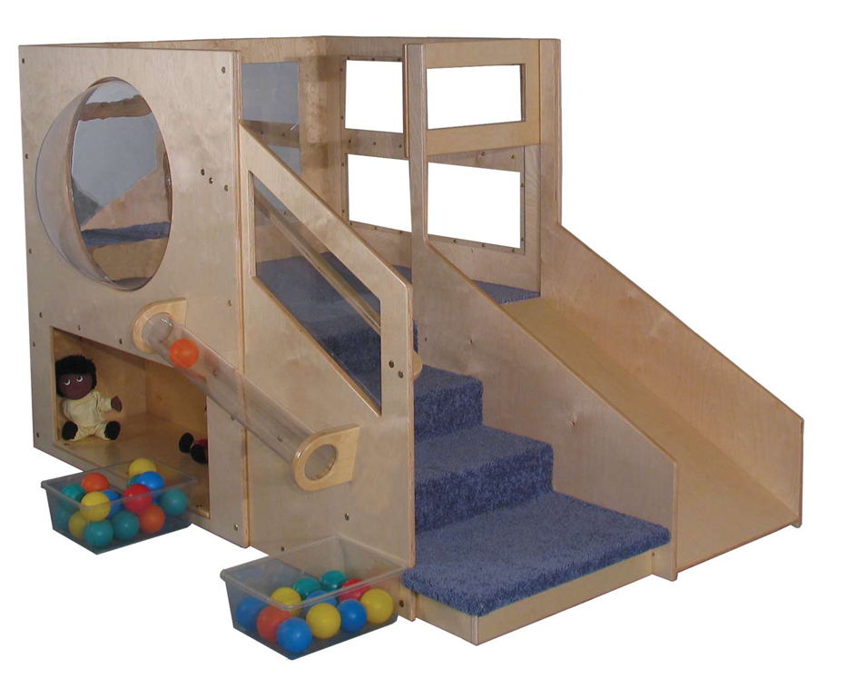 Mainstream Adventurer 2 Infant Toddler Loft B with 2-Storages and Bubble, Beige Carpet (Blue Shown)