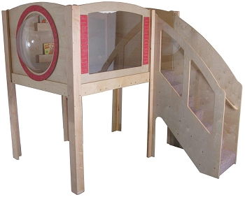Mainstream Explorer 1 Preschool Corner Wave Loft with Beige Carpeting, Steps on Right. 7'3''w x 9'd x 94''h, 52''h Platform