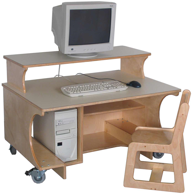 Mainstream Single Computer Table with Monitor Shelf, Preschool through School Age, 42''w x 30''d